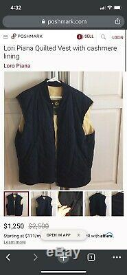 $1250 Loro Piana Quilted Horse Jacket Vest Black Cashmere Blend Lining Large