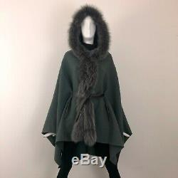 $12K Loro Piana Ladies Hooded Pure Baby Cashmere FOX FUR Cape Coat One Size S M