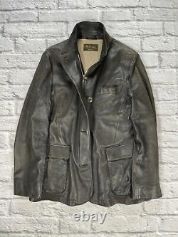 $12k+ LORO PIANA Deer Leather Cashmere Luxury Motorcycle Military Hunting Jacket