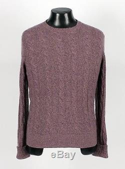 $1425 LORO PIANA 100% BABY CASHMERE Cable Knit Sweater Puple Melange 50