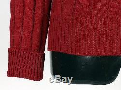 $1495 NWT LORO PIANA 100% BABY CASHMERE Cable Knit Crewneck Sweater Red S / M
