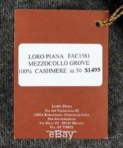 $1495 NWT LORO PIANA 100% CASHMERE / SUEDE 1/2 Zip Sweater Green Melange 50 M