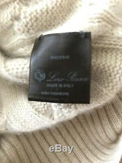 £1500 Loro Piana Baby Cashmere Cable Knit Turtle Neck Sweater Beige IT42 /UK10