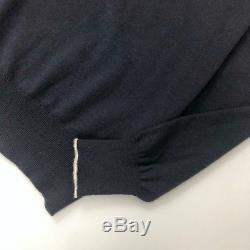 $1550 Loro Piana Men BABY CASHMERE Navy Sweater Jumper Knit Pullover Size 50 L