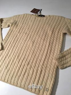 $1645 NTW Auth LORO PIANA 100% Baby Cashmere Butterscotch CABLE Knit Sweater 44