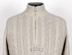 $1715 LORO PIANA 100% BABY CASHMERE / SUEDE Cable 1/2 Zip Sweater Gray 54 XL