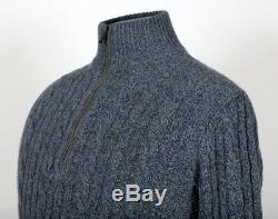 $1750 LORO PIANA 100% BABY CASHMERE / SUEDE 1/2 Zip Sweater Blue 48 S Small