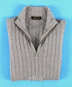 $1750 LORO PIANA 100% BABY CASHMERE / SUEDE Cable 1/2 Zip Sweater Gray 48 M