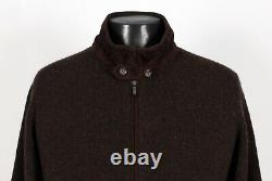 $1850 LORO PIANA 100% CASHMERE / SUEDE BOMBER ROADSTER Sweater Brown 52 M L