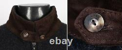 $1850 LORO PIANA 100% CASHMERE / SUEDE BOMBER ROADSTER Sweater Charcoal M