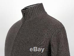 $1850 LORO PIANA 100% CASHMERE / SUEDE Full Zip Bomber Sweater Taupe 50 L