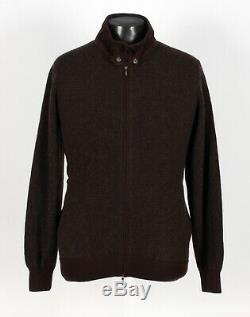 $1850 NWD LORO PIANA 100% CASHMERE / SUEDE BOMBER ROADSTER Sweater Brown L