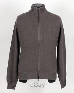 $1850 NWT LORO PIANA 100% CASHMERE / SUEDE Full Zip Bomber Sweater Taupe M