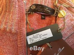 1,450$ Loro Piana Cashmere Blend and Leather Sweater Size 56, XXL Made in Italy