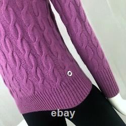 $2000 Loro Piana Ladies BABY CASHMERE Cable Knit Jumper Sweater Pullover 42 S