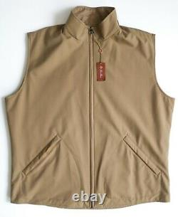 $2595 LORO PIANA Tan Reversible Cashmere Storm System with Suede Trim Vest Large