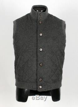 $2725 LORO PIANA 100% CASHMERE Quilted Vest Gray S Small