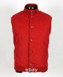 $2725 LORO PIANA 100% CASHMERE Quilted Vest Red XL