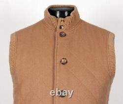 $2725 LORO PIANA 100% CASHMERE Quilted Vest Tan M