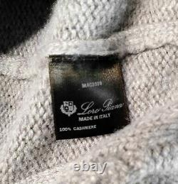 $2,395 LORO PIANA 100% Chunky Cashmere Cable-knit Sweater Taupe Brown 52 Large