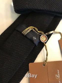 325$ Loro Piana Baby Cashmere, Wool and Silk Tie Navy Blue Made in Italy
