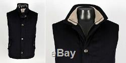 $3695 LORO PIANA 100% CASHMERE / SUEDE Quilted Vest Dark Blue L Large