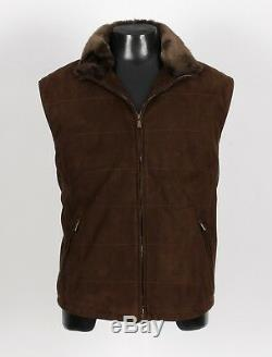 $3825 LORO PIANA 100% QUILTED SUEDE LEATHER / FUR COLLAR / CASHMERE Vest XXL