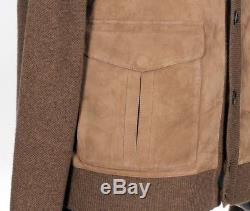 $3995 LORO PIANA SUEDE LEATHER KIDSKIN / BABY CASHMERE Sweater Bomber 50 M