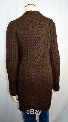 $3,495 LORO PIANA 100% Cashmere Thick Robe Luxurious Cableknit Brown Euro 48 Z51