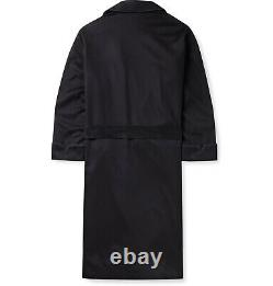 $3,650 LORO PIANA James Piped 100% Cashmere Robe L Large Navy Blue Italy