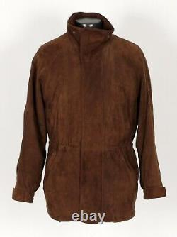 $4450 LORO PIANA Suede / Cashmere Lined Jacket Coat Brown M Medium