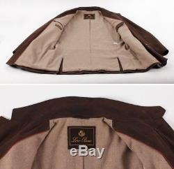 $4675 LORO PIANA LEATHER / CASHMERE LINED Coat Jacket Brown M L