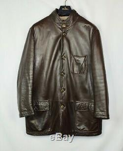 $4800 Loro Piana Brown Leather 100% Cashmere Lined Mens Horsey Jacket Large L