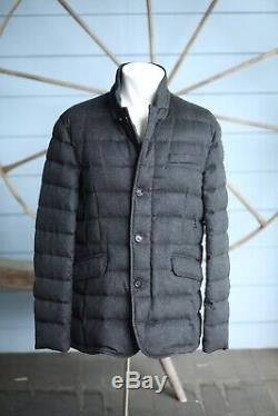 $4,995 Moorer Loro Piana 100% Pure Cashmere Goose Down Jacket XL 42US 52IT Grey