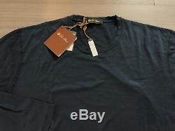 535$ Loro Piana Navy Long Sleeve Cashmere/Cotton Shirt Size Large Made in Italy