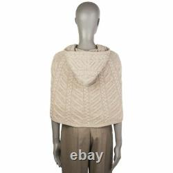 55591 auth LORO PIANA beige cashmere CLOUDY Cable-Knit Hooded Poncho Jacket L
