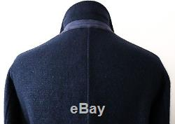 $5695 LORO PIANA Navy Cashmere Double Breasted Woven Suede Overcoat Coat XL 2XL