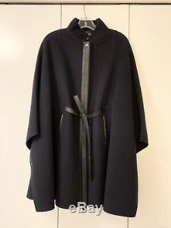 $5700 Loro Piana Cashmere Navy Cape Belted Leather Strap O/S