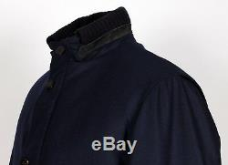 $5795 LORO PIANA 100% BABY CASHMERE / SUEDE Puffer Coat Jacket Blue M