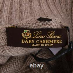 58005 auth LORO PIANA beige cashmere CABLE KNIT Cardigan Sweater 40 S