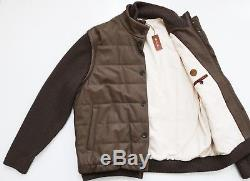 $5995 LORO PIANA Quilted Lambskin Leather Cashmere Bomber Jacket + Vest XXL 2XL