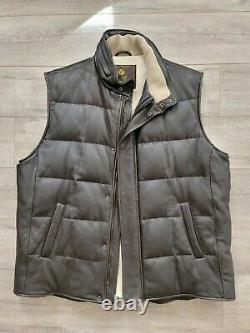 $8,000 LORO PIANA Deer Leather Down Puffer Cashmere Vest Gilet XXL Ultimate Lux