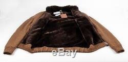 $9395 NWT LORO PIANA 100% CASHMERE / BEAVER FUR LINED Bomber Sweater Brown 48 M