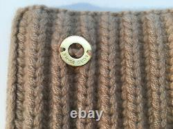 Auth NWT LORO PIANA Beige 100% Baby Cashmere Ribbed Knit Collar Scraf