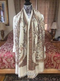 ICONIC LUXE LORO PIANA floral/ornamental cashmere/silk blend scarf/shawl