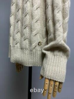 LORO PIANA 100% Baby Cashmere Cable Knit Cardigan Sweater Size IT 46 Logo Button