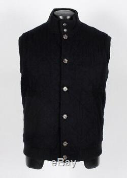 LORO PIANA 100% CASHMERE Quilted Vest Black 2XL XXL