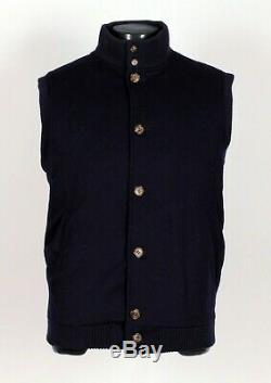 LORO PIANA 100% CASHMERE Quilted Vest Dark Blue L Large