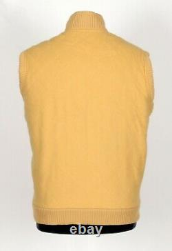 LORO PIANA 100% CASHMERE Quilted Vest Yellow L Large