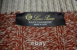 LORO PIANA 1/2 Button Mockneck Thick Red 100% Baby Cashmere Sweater Size 58 XXL